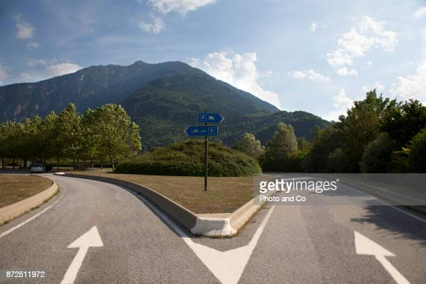 motorway parking - forked road stock pictures, royalty-free photos & images