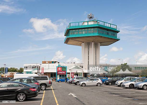 motorway services on the m6 in england - petrol station stock photos and pictures
