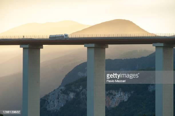 motorway viaduct italia between calabria mountains - italia ストックフォトと画像