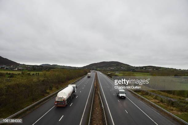 Motorway view of the Irish border on November 14 2018 in Newry Northern Ireland Theresa May will today attempt to secure the backing of her...