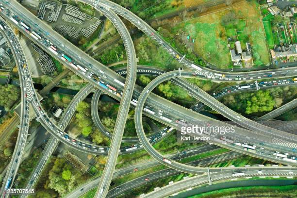 motorway/freeway from above - birmingham england stock pictures, royalty-free photos & images