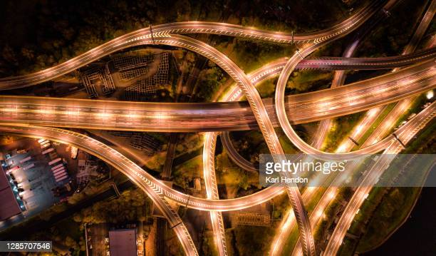 motorway/freeway from above - construction industry stock pictures, royalty-free photos & images