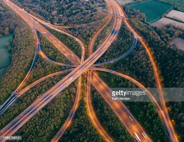 motorway/freeway from above - drone point of view stock pictures, royalty-free photos & images