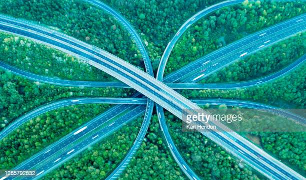 motorway/freeway from above - road junction stock pictures, royalty-free photos & images