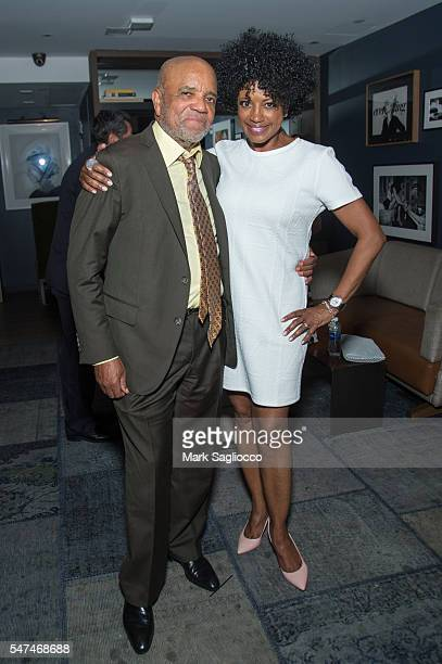 Motown Founder Berry Gordy and Actress Marva Hicks attend the Motown The Musical Returns To Broadway at Nederlander Theatre on July 14 2016 in New...