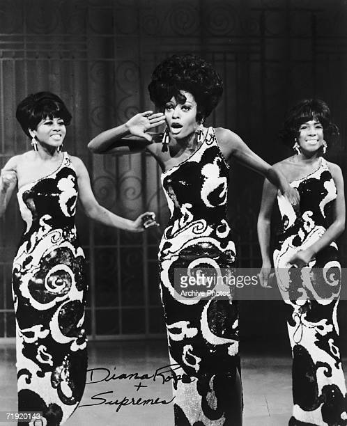Motown girl group The Supremes performing mid 1960s, from left to right, Cindy Birdsong, Diana Ross and Mary Wilson.