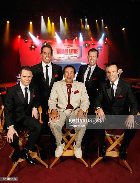 Motown legend Smokey Robinson appears with Australian vocal group Human Nature Michael Tierney, Toby Allen, Phil Burton and Andrew Tierney during a...