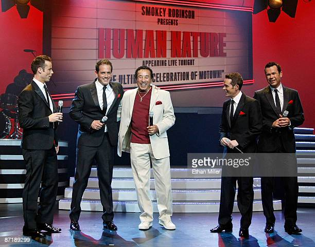 Motown legend Smokey Robinson performs with Australian vocal group Human Nature Andrew Tierney Toby Allen Michael Tierney and Phil Burton during a...