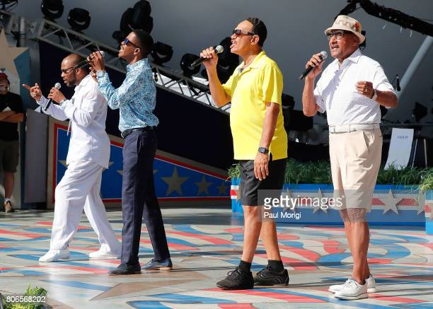 Motown legends The Four Tops rehearse at A Capitol Fourth Rehearsals at US Capitol West Lawn on July 3 2017 in Washington DC