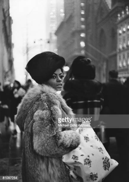 Motown recording star Diana Ross shops on 5th Avenue before a performance on the TV show Hullabaloo circa 1965 in New York City New York