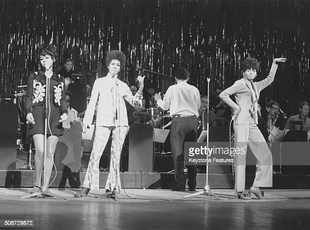 Motown singing group 'Diana Ross and the Supremes'; Cindy Birdsong, Mary Wilson and Diana Ross, performing in stage at the Royal Command Performance...