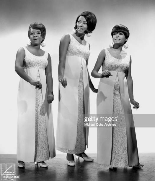 Motown singing group The Marvelettes LR Anne Bogan Katherine Anderson and Wanda Young pose for a portrait circa 1968 in New York City New York