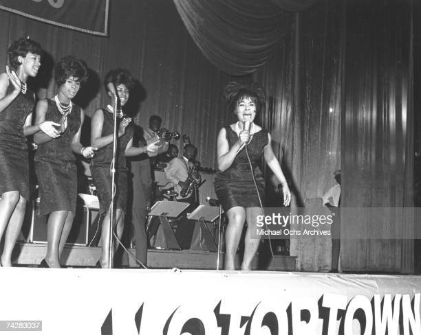 Motown singing group The Marvelettes (L-R: Katherine Anderson, Gladys Horton, Georgeanna Tillman , and Wanda Young perform live with the Motortown...