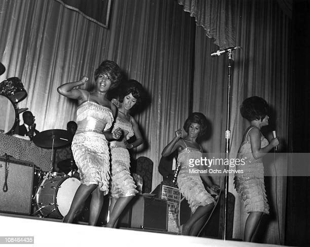 Motown singing group The Marvelettes perform live with the Motortown Review circa 1964.
