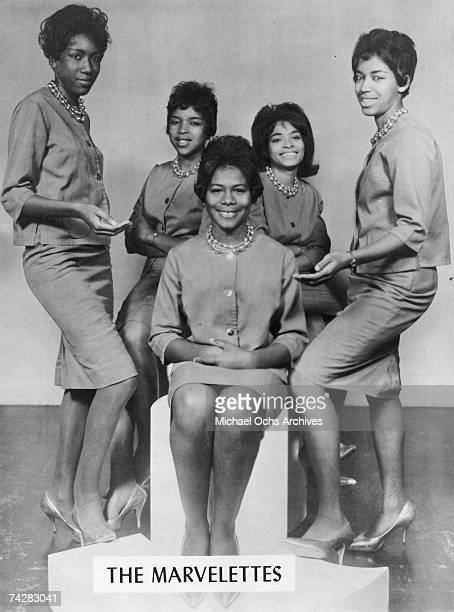 Motown singing group The Marvelettes pose for a portrait circa 1964 in Detroit, Michigan.
