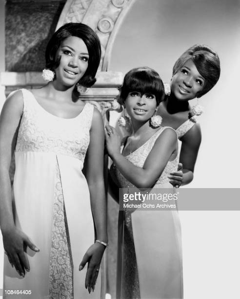 Motown singing group The Marvelettes LR Katherine Anderson Wanda Young and Anne Bogan pose for a portrait circa 1968 in New York City New York