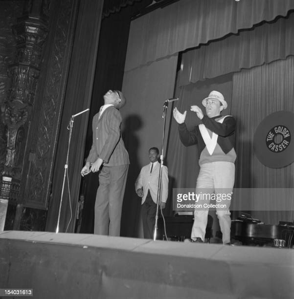 Motown star Little Stevie Wonder performs onstage with the host of Murray The K's Big Holiday Show at the Brooklyn Fox Theater on August 3 1963 in...
