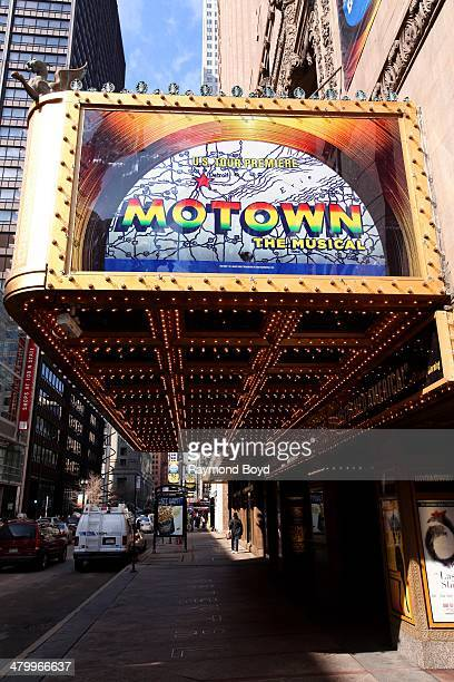 Motown The Musical signage at the Oriental Theater Ford Center for the Performing Arts on March 20 2014 in Chicago Illinois