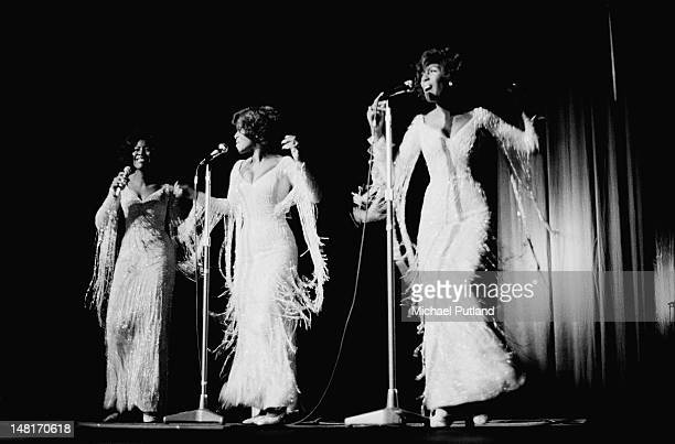 Motown vocal group The Supremes performing at the Regal Edmonton London 12th November 1971 Left to right Jean Terrell Cindy Birdsong and Mary Wilson