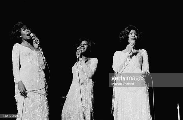 Motown vocal group The Supremes performing at the Regal Edmonton London 12th November 1971 Left to right Mary Wilson Cindy Birdsong and Jean Terrell