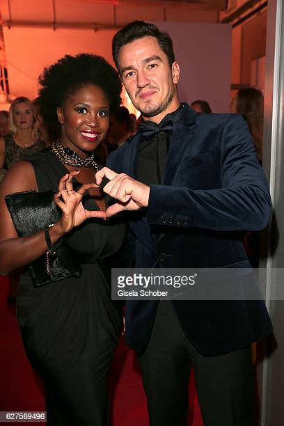 Motsi Mabuse and her boyfriend Evgenij Voznyuk are seen during the Ein Herz Fuer Kinder reception at Adlershof Studio on December 3 2016 in Berlin...