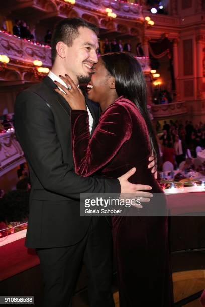 Motsi Mabuse and her husband Evgenij Voznyuk during the Semper Opera Ball 2018 at Semperoper on January 26 2018 in Dresden Germany