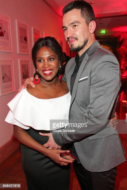 Motsi Mabuse and her husband Evgenij Voznyuk, pregnant, during the Gala Spa Awards at Brenners Park-Hotel & Spa on April 14, 2018 in Baden-Baden,...
