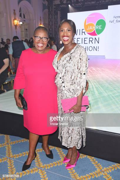 Motsi Mabuse and her mother Dudu Mabuse during the Ernsting's Family Fashion event on June 18, 2018 in Hamburg, Germany.