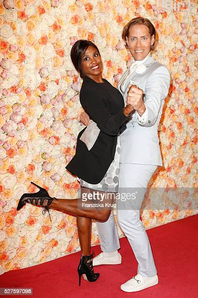 Motsi Mabuse and Jens Hilbert during 'Sila Sahin Presents New Hairfree Cosmetics Line' at the hairfree headquarter on May 3, 2016 in Darmstadt,...