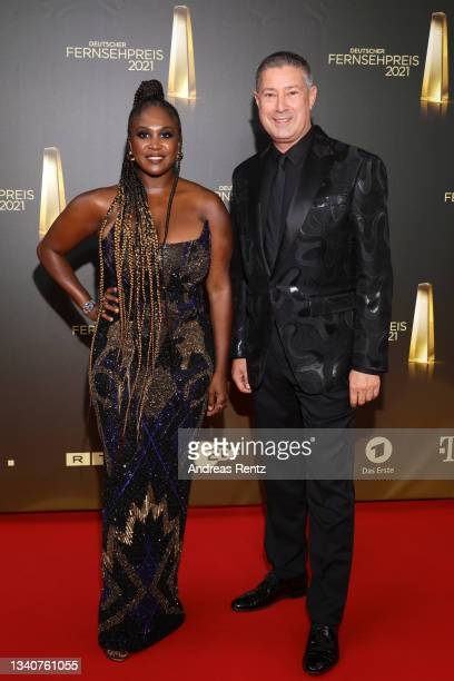 Motsi Mabuse and Joachim Llambi attend the German Television Award at Tanzbrunnen on September 16, 2021 in Cologne, Germany.