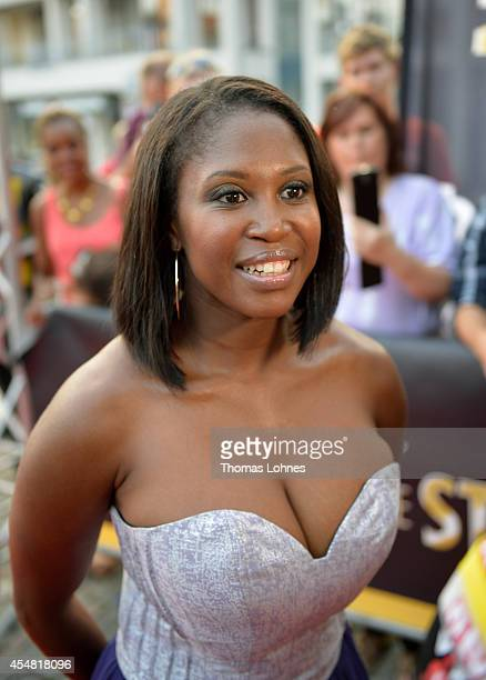 Motsi Mabuse arrives on the red carbet for the dance gala performance 'Night Of The Stars 2014' on September 6 2014 in Aschaffenburg Germany