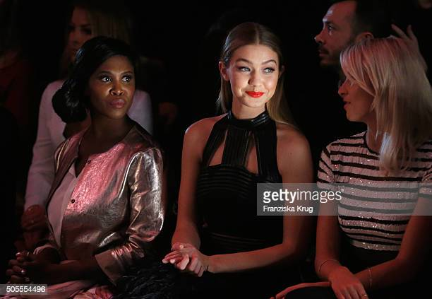 Motsi Mabuse Gigi Hadid and Lena Gercke attend the 'The Power Of Colors MAYBELLINE NEW YORK MakeUp Runway' show during the MercedesBenz Fashion Week...