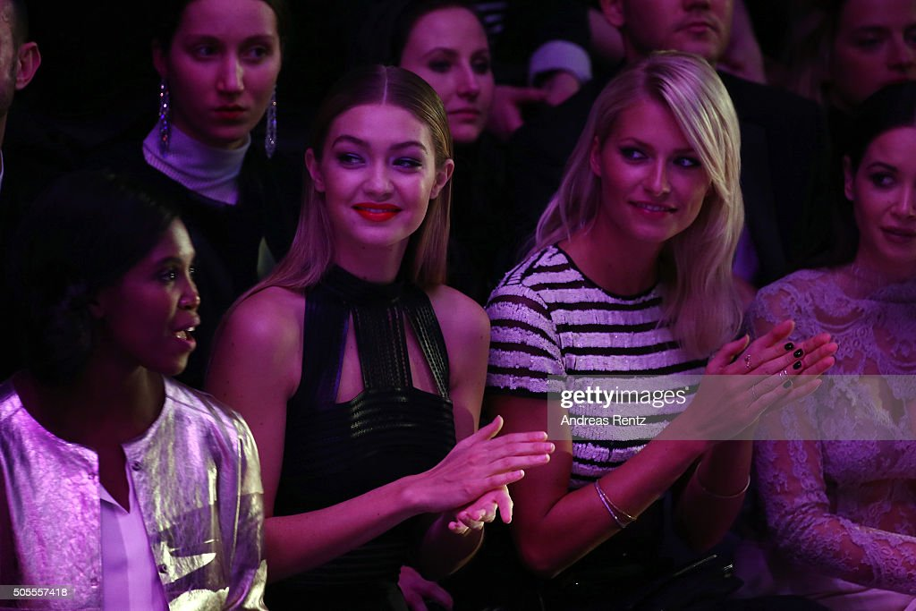 Motsi Mabuse, Gigi Hadid and Lena Gercke attend the 'The Power Of Colors - MAYBELLINE New York Make-Up Runway' show during the Mercedes-Benz Fashion Week Berlin Autumn/Winter 2016 at Brandenburg Gate on January 18, 2016 in Berlin, Germany.