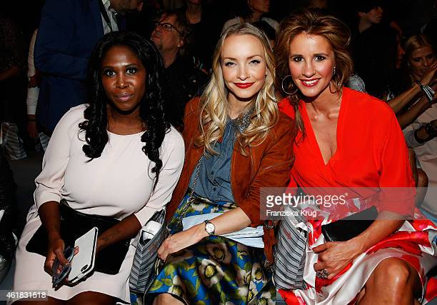 Motsi Mabuse, Janin Reinhardt and Mareile Hoeppner attend the Marc Cain show during the Mercedes-Benz Fashion Week Berlin Autumn/Winter 2015/16 at...