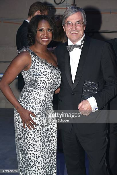 Motsi Mabuse, Jean-Claude Ellena of Hermes, with his 'Lifetime Achievment Award' pose at the Duftstars Award 2015 on May 7, 2015 in Berlin, Germany.