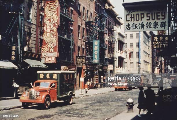 Mott Street in Chinatown New York City circa 1950