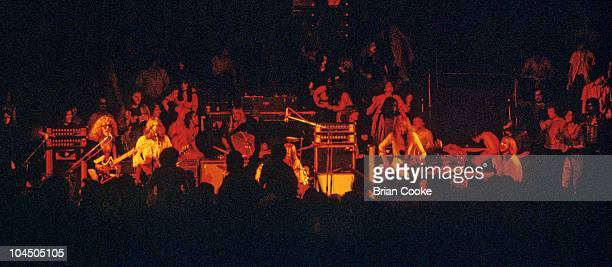 Mott The Hoople, L-R Ian Hunter, Mick Ralphs, Dale 'Buffin' Griffin, Pete Overend Watts and Verden Allen, perform on stage at Birmingham Town Hall on...