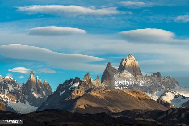 Mottled light and shadow on Mount Fitz Roy and Cerro Torre in Los Glaciares National Park near El Chalten Argentina A UNESCO World Heritage Site in...