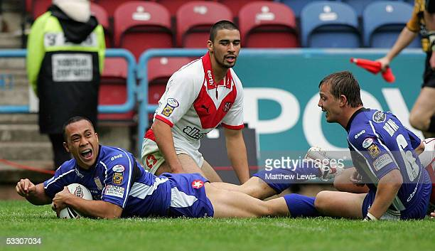 Motu Tony of Hull celebrates his try during the Powergen Challenge Cup semifinal match between Hull FC and StHelens at the Galpharm Stadium on July...