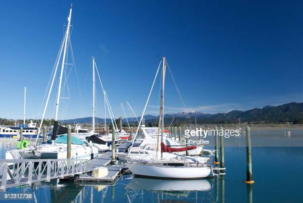 motueka marina, tasman district, new zealand - nelson city new zealand stock pictures, royalty-free photos & images