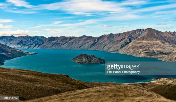 mou waho island, lake wanaka - phil haber stock pictures, royalty-free photos & images