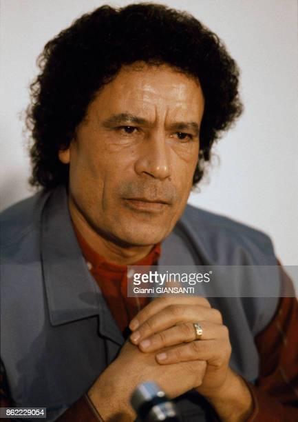 Mouammar Kadhafi chef d'état Libien lors d'une conférence de presse à Tripoli le 10 janvier 1986 Libye