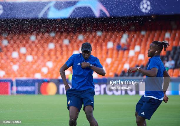 Mouctar Diakhaby and Michy Batshuayi of Valencia CF with looks before the Champions League match between Valencia CF and Juventus FC at Mestalla...