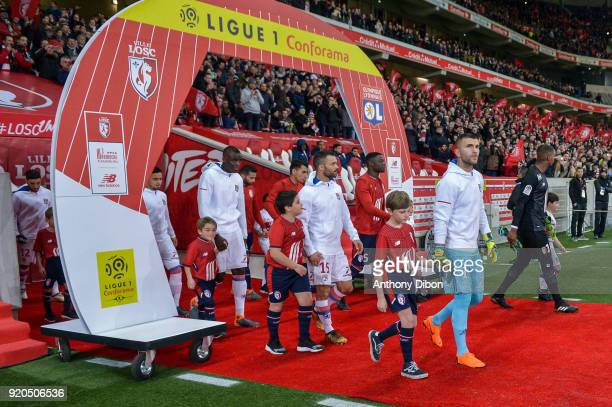 Mouctar Diakhaby Jeremy Morel and Anthony Lopes of Lyon during the Ligue 1 match between Lille OSC and Olympique Lyonnais at Stade Pierre Mauroy on...