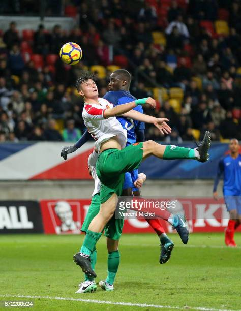 Mouctar Diakhaby of France and Stefan Velkov of Bulgaria during the Under 21s Euro 2019 qualifying match between France U21 and Bulgaria U21 on...