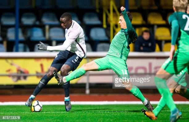 Mouctar Diakhaby of France during the Under 21s Euro 2019 qualifying match between Slovenia U21 and France U21 on November 13 2017 in Domzale Slovenia