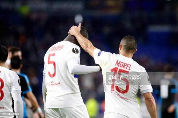Mouctar Diakhaby of Lyon and Jeremy Morel of Lyon during europa league match between Olympique Lyonnais and Apollon Limassol at Parc Olympique on...