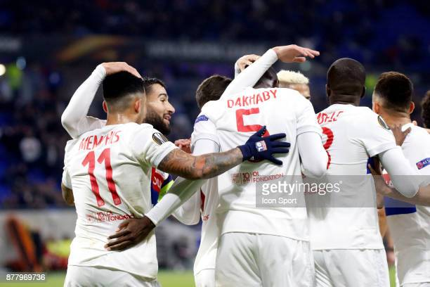 Mouctar Diakhaby of Lyon and Nabil Fekir of Lyon and Memphis Depay of Lyon during europa league match between Olympique Lyonnais and Apollon Limassol...