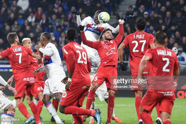 Mouctar Diakhaby of Lyon and Pedro Mendes of Montpellier during the Ligue 1 match between Olympique Lyonnais and Montpellier Herault SC at Parc...