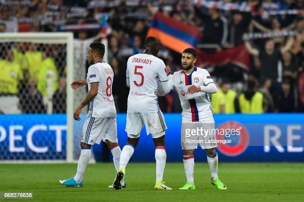 Mouctar Diakhaby of Lyon Nabil Fekir of Lyon during the Uefa Europa League quarter final first leg match between Olympique Lyonnais Lyon and Besiktas...